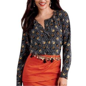 Cabi Eclipse Moon Blouse Popover Top Long Sleeve